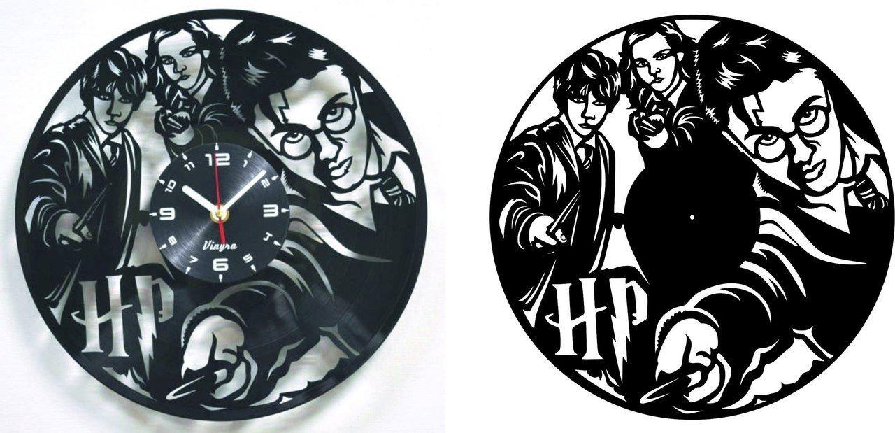 Dxf File Harry Potter Vinyl Record Clock Cnc Vector