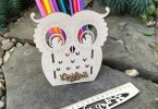 Dxf file Owl Desk Organizer Pencil Holder For laser
