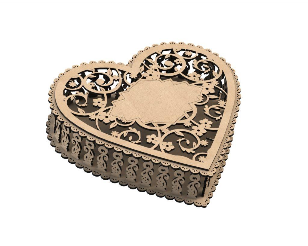 Laser Cut Heart box Gift Box cdr file