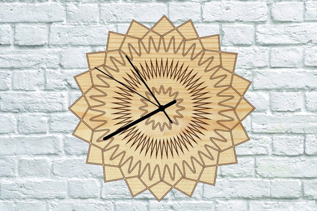Clock template free laser cutting projects dxf files