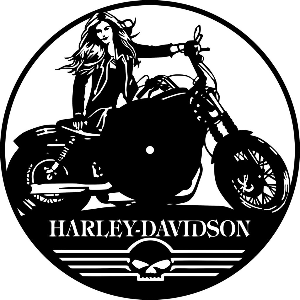 Harley-Davidson DXF download wall clock vector DXF download