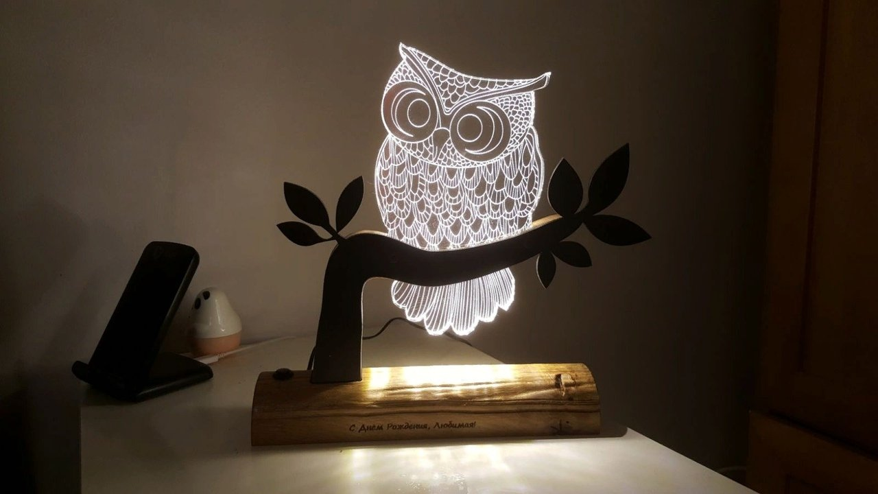 Owl 3D LED Night Light free dxf files download | FreeVector