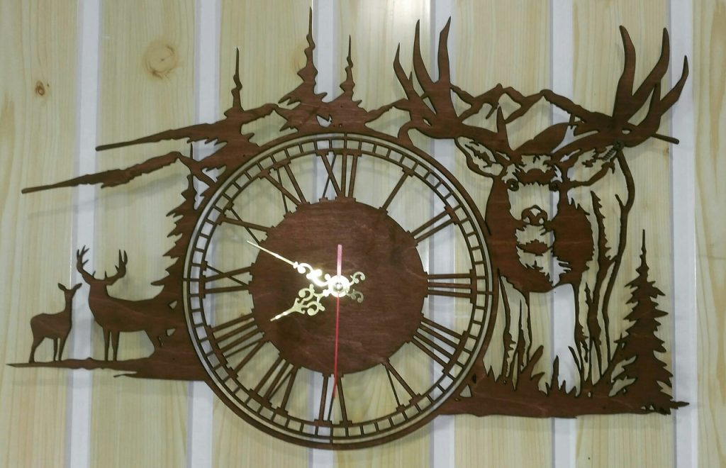 Files for laser cutting clock vector