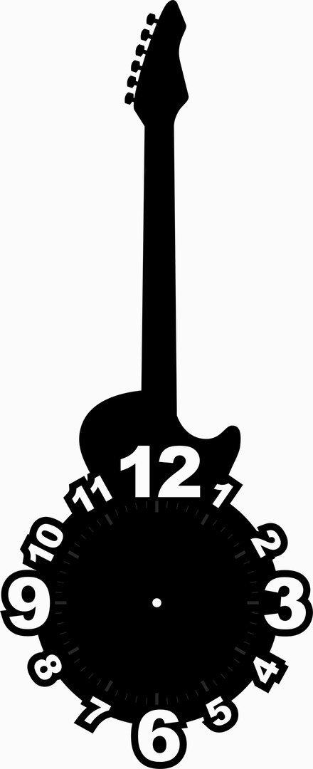 Guitar Shaped Clock Face Laser Cut Free Vector