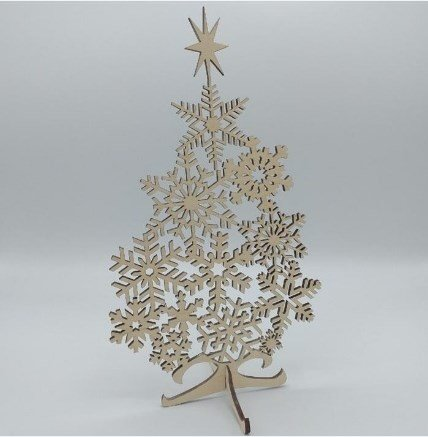 Snowflake Christmas Tree Free Vector For Laser Cut Wood