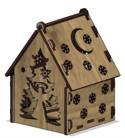 Laser Cut Wooden House Free Vector