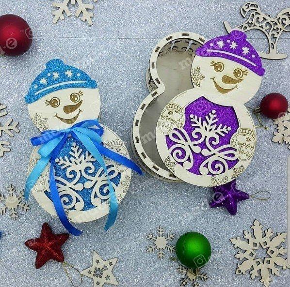 Wooden Snowman Christmas Gift Laser Cut mdf