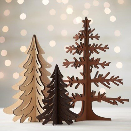 laser cut wood christmas trees