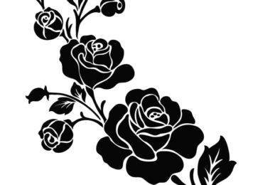 Clipart flower black and white