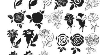 black and white flower clipart