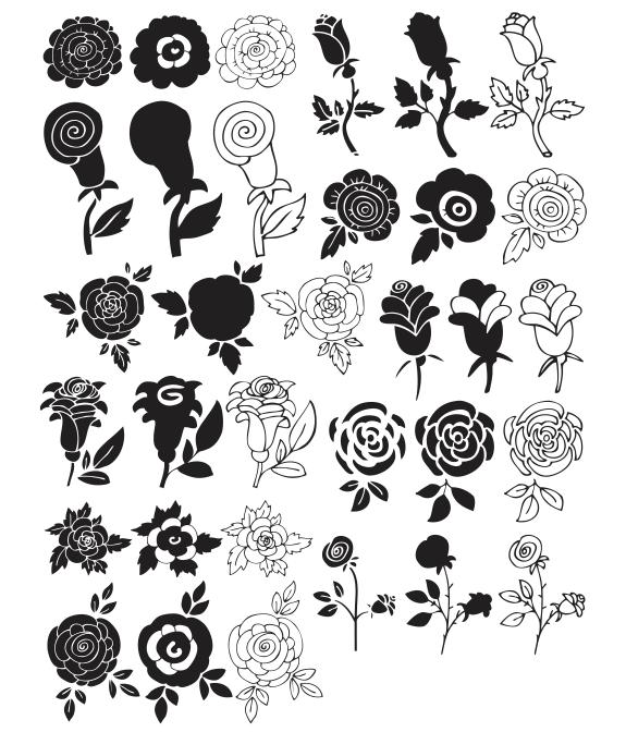 black and white flower clipart