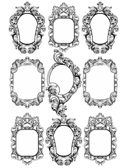 baroque frame vector free