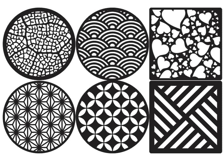 aser Cut Decorative Coasters Free Vector